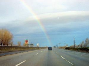 Rainbow on Freeway