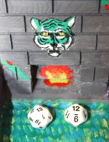 Close up of Tiger and Fireplace